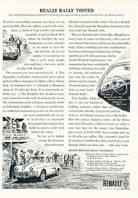1962 Renault Dauphine - Rally Race - Classic Vintage Advertisement Ad H05