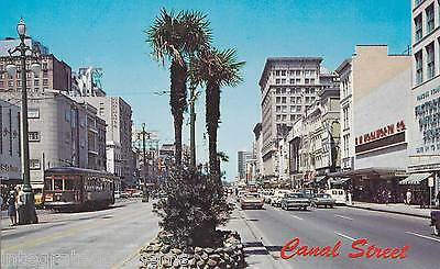 unused 1970s Chrome Postcard Busy CANAL STREET New Orleans Old Cars + Streetcar
