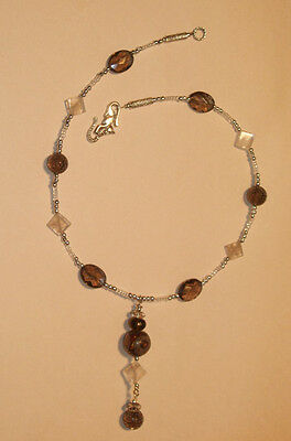 Rich Brown Smoky Quartz and Dzi Bead necklace