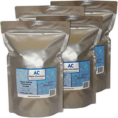 20 Pounds - Copper Sulfate Pentahydrate Crystals - 99% Pure