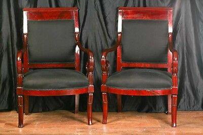 Pair Mahogany French Arm Chairs Charles X Throne