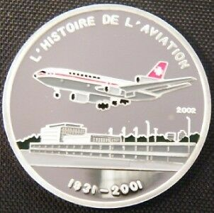 2002 Chad Large Silver Color Proof 1000 fr Airplane-DC-10