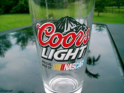 Coors Light Beer Glass 'official Beer Of Nascar'  Logo Mountain Turns Blue New