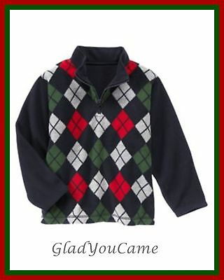 NWT Gymboree sz 5-6 SNOW CHILLIN' Navy Blue Red Argyle Fleece Pullover Sweater