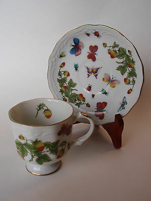 Vintage Hand Painted Lenwile China Ardalt Japan Strawberry Butterfly Cup Saucer