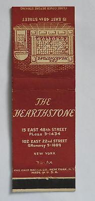 The Hearthstone Restaurant 15 E 48th & 102 E. 22nd St. New York NY Matchcover