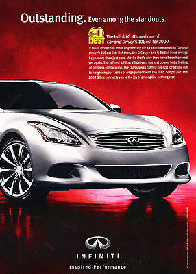 2009 Infiniti G Coupe and Sedan - Red - Classic Vintage Advertisement Ad D67