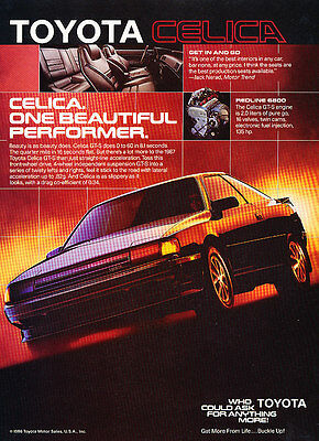 1986 Toyota Celica - Performer - Classic Vintage Advertisement Ad D61