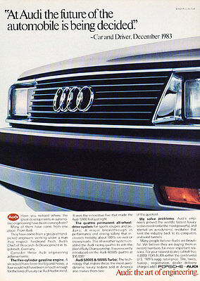 1984 Audi 5000S - Future - Classic Vintage Advertisement Ad D61