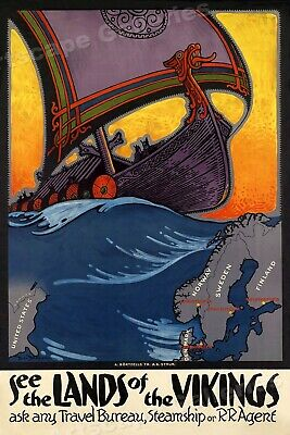 "1930's ""Land of the Vikings"" Vintage Style Scandinavian Travel Poster - 24x36"