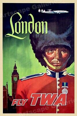 London - Fly TWA Vintage Style Travel Poster - 16x24