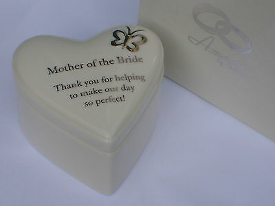 """Mother of the Bride"" GIFT-Ceramic Heart Shaped ""AMORE"" TRINKET BOX in a BOX-NEW"