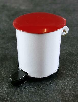 Dolls House Red & White Metal Pedal Bin Miniature 1:12 Scale Kitchen Accessory