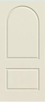 Custom Carved 2 Panel Full Arch Raised Panels Primed Solid Core Interior Doors