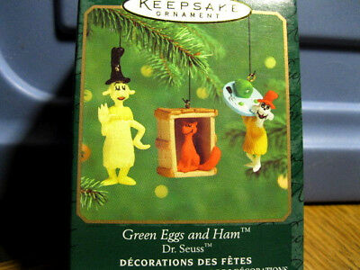 2000 Hallmark Miniature Mini GREEN EGGS AND HAM DR. SEUSS - Set of three