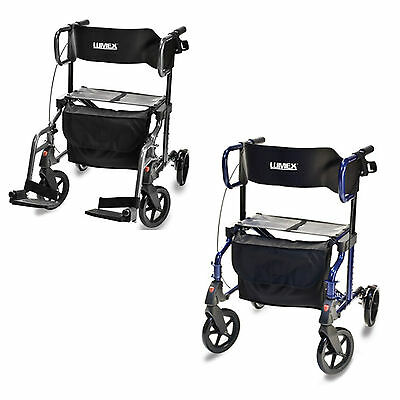 Hybrid LX 1000 Rollator Walker Transport Chair, Blue Gray, 2 In 1, HybridLX