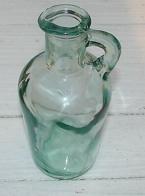 "Green Jug Vintage Glass Antique Wavy Glass  3 X 7"" Seam 1900's Craft Vase Blown"