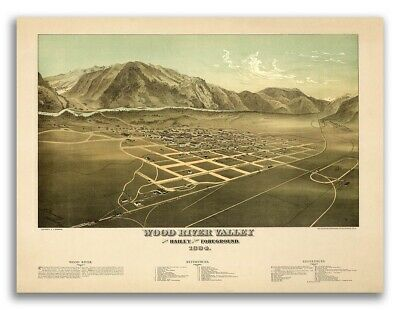 Bird's Eye View 1884 Hailey ID Old City Map - 20x28