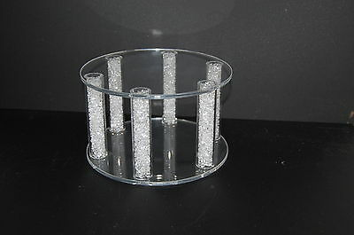 """Large 8"""" Acrylic Cake Separator Cake Topper Wedding Stand, Crystall Filled"""