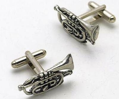 English Pewter Cornet Cufflinks Musical Cuff Links Brass Band NEW in BOX 8576
