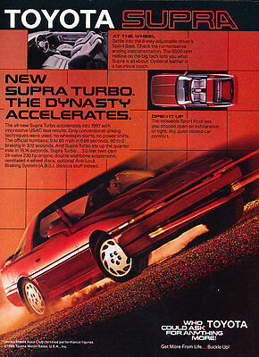 1987 Toyota Supra Turbo - Dynasty - Classic Vintage Advertisement Ad D74