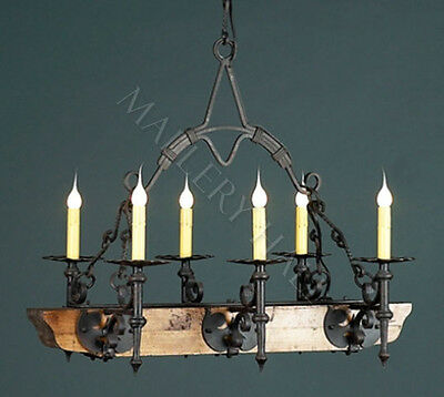 French Six Light Wrought Iron Chandelier Old World