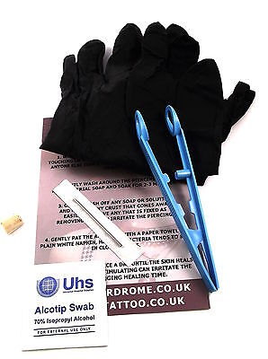 PRO STERILE *Blade Needle Piercing Kit* - Choose Piercing/Jewellery!- uk Seller