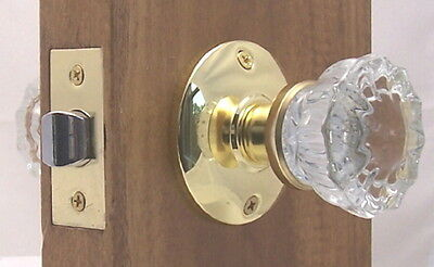 Lot of FOUR Fluted Crystal Glass Passage Door Knob Sets