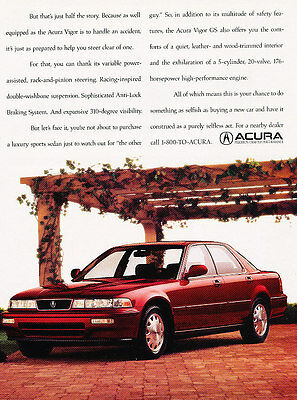 1993 Acura Vigor GS - 2 Page Ad - Classic Vintage Advertisement Ad D79