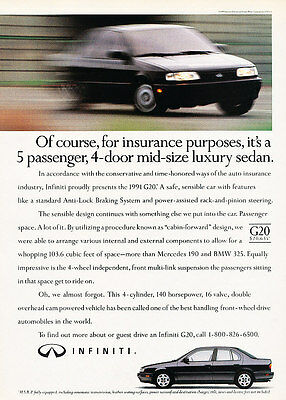 1991 Infiniti G20 - luxury sedan - Classic Vintage Advertisement Ad H07