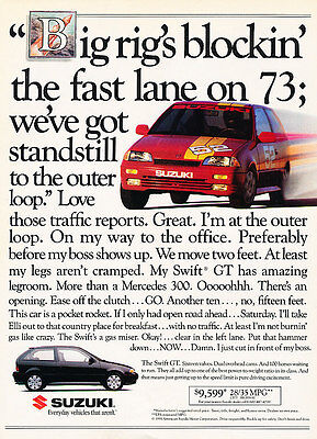 1991 Suzuki Swift GT - fast lane - Classic Vintage Advertisement Ad H08