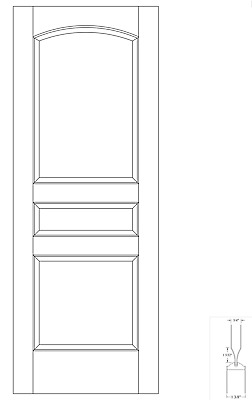 Custom Carved 3 Panel Arch Top Primed Raised Panels Solid Core Interior Doors