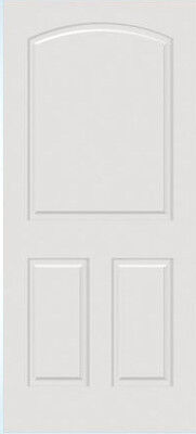 Custom Carved 3 Panel Arch Top Raised Panels Primed Solid Core Interior Doors