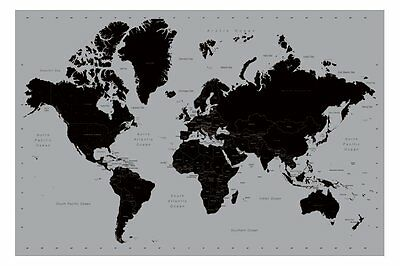 World Map Poster Contemporary Black and Silver Style Large New