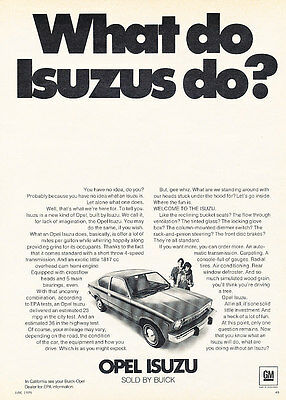 1976 Opel Isuzu - What - Classic Vintage Advertisement Ad D82