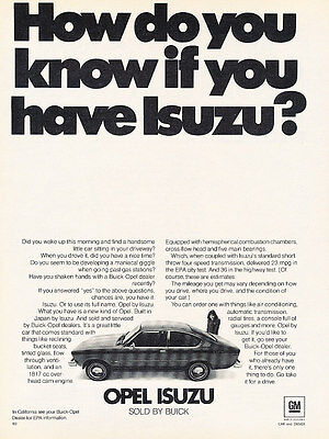 1976 Opel Isuzu - How - Classic Vintage Advertisement Ad D82