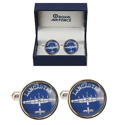 RAF Royal Air Force Lancaster Round  Blue Cufflinks ~ Gift Boxed