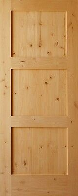 3 Panel Flat Shaker Knotty Alder Stain Grade Solid Core Interior Door Wood Doors
