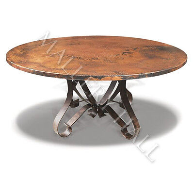 Tuscan Round Copper Top Flat Wrought  Iron Base Dining Table 55 inch