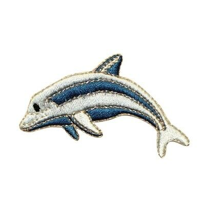 ID 0293 Striped Dolphin Jumping Patch Fish Ocean Embroidered Iron On Applique