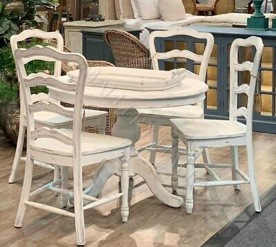 French Country Mahogany White Ladderback Dining Chairs  Rush Seat (4)