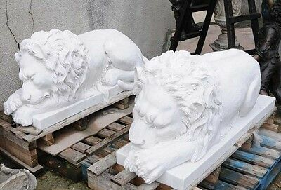 Pair XL Marble Recumbent Lions Lion Animals Hand Carved Statue