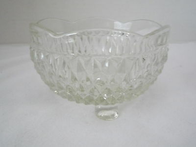 Vintage Cut Glass Round Footed Candy / Nut Dish  - Diamond Pattern