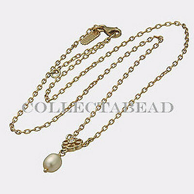 Authentic Pandora 14kt Gold Daisy Diamond Pearl Necklace 55101D45 *RETIRED*