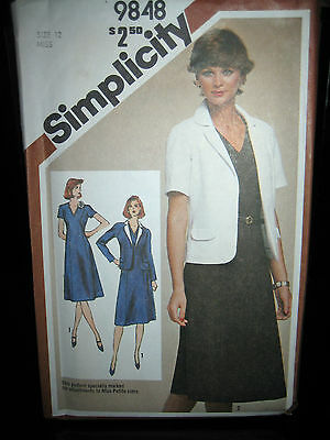 Vintage Simplicity #9848 Misses Dress & Unlined Jacket Pattern - Size 12
