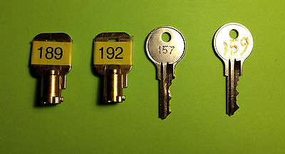 VENDSTAR 3000 KEY SET BACKDOOR KEYS # 0189, 0192 + TOP LID KEYS  # 157 and 159