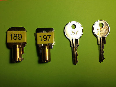 VENDSTAR 3000 KEY SET BACKDOOR KEYS # 0189, #0197 + TOP LID KEYS  # 157 and 159