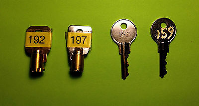 VENDSTAR 3000 KEY SET BACKDOOR KEYS # 0192, 0197 + TOP LID KEYS  # 157 and 159