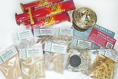 AQ Charcoal Resin Incense PREMIUM KIT inc CENSER, RESINS, CHARCOAL,TONGS, INST'S