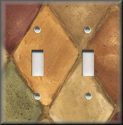 Light Switch Plate Cover - Home Decor - Tuscan Tones Block - Earthly Colors